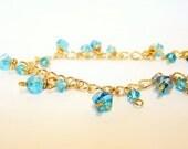 Turquoise Blue Czech Glass Charm Bracelet