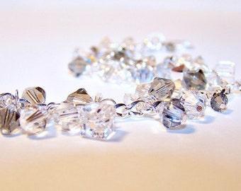 Black Diamond and Silver Shade Swarovski Crystal Sterling Silver Bracelet  - Lightning Storm