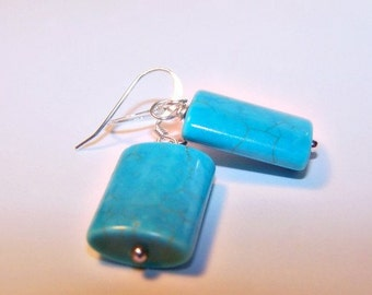 Turquoise Pillow Cut Silver Earrings