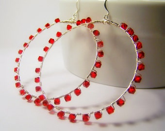 Large Red Swarovski Wire Wrapped Hoops