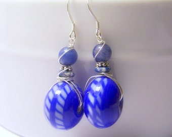 Rich Blue Ceramic and Sodalite Wire Wrapped Earrings - Nautical Knots