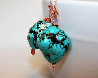 Rough Turquoise Nugget Earrings