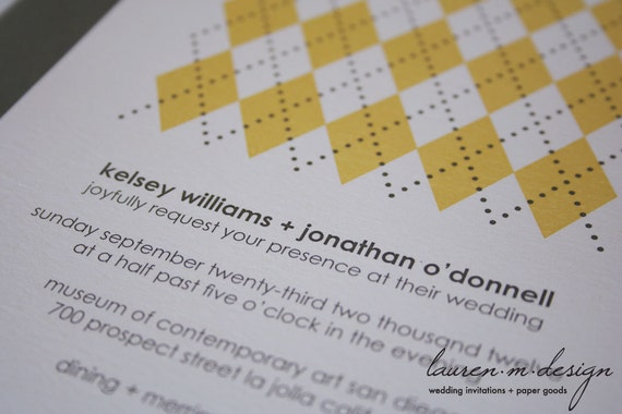 Modern Argyle Invitation Suite (Sample) in Yellow & Gray