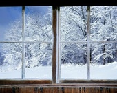 Wall mural window, self adhesive, Winter window view-3 sizes available-Indiana winter - free US shipping