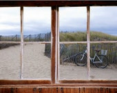 Wall mural window, self adhesive, path to the beach- Cape Cod- window view-3 sizes available - free US shipping