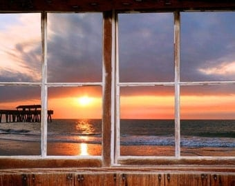 Wall mural window, self adhesive, Tybee Pier window view-3 sizes available - free US shipping