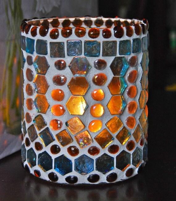 Lantern, hurricane lamp, stained glass mosaic luminaria, candle holder-BALTIC