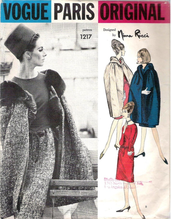 1960s Nina Ricci dress and coat pattern - Vogue 1217