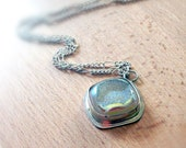 Druzy Quartz Sterling Silver Pendant Necklace - .930 Argentium Sterling Silver Bezel Set Necklace
