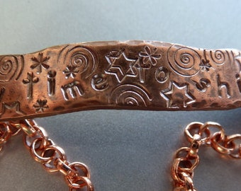 My time to shine - wonky ID style bracelet in solid copper or sterling silver