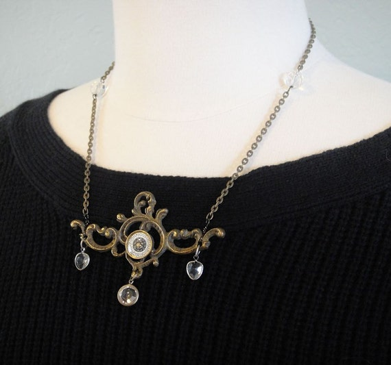 Steampunk Backplate  -  Statement Necklace - eco-friendly made with vintage, recycled or repurposed components