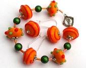 Handmade funky orange lampwork bracelet and earrings set Color Blast