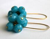 Handmade long faceted teal jade cluster earrings