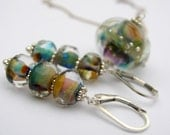 Sterling silver Kashmir lampwork earrings transparrent colorful
