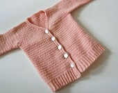 V I N T A G E tiny pink knitted baby cardigan
