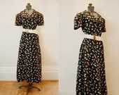 V I  N T A G E Thirties Black Floral dress