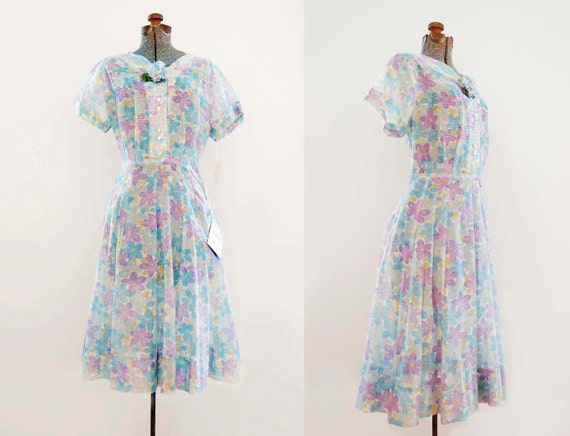 V I  N T A G E Fifties Garden Party dress/New with Tags