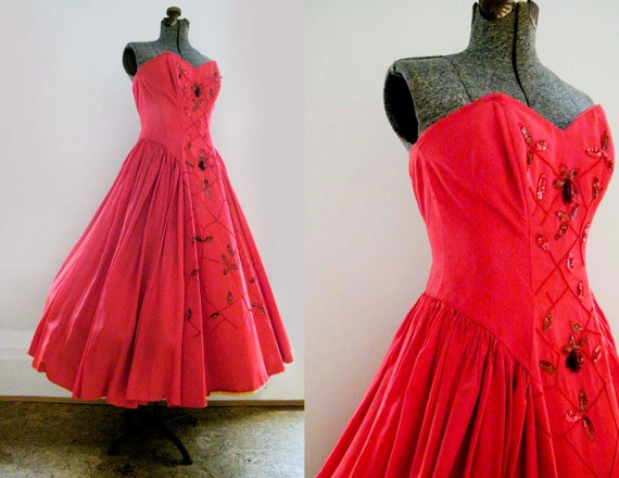 V I  N T A G E 1950's Fred Perlberg Red Hot dance frock...reserved for Pam