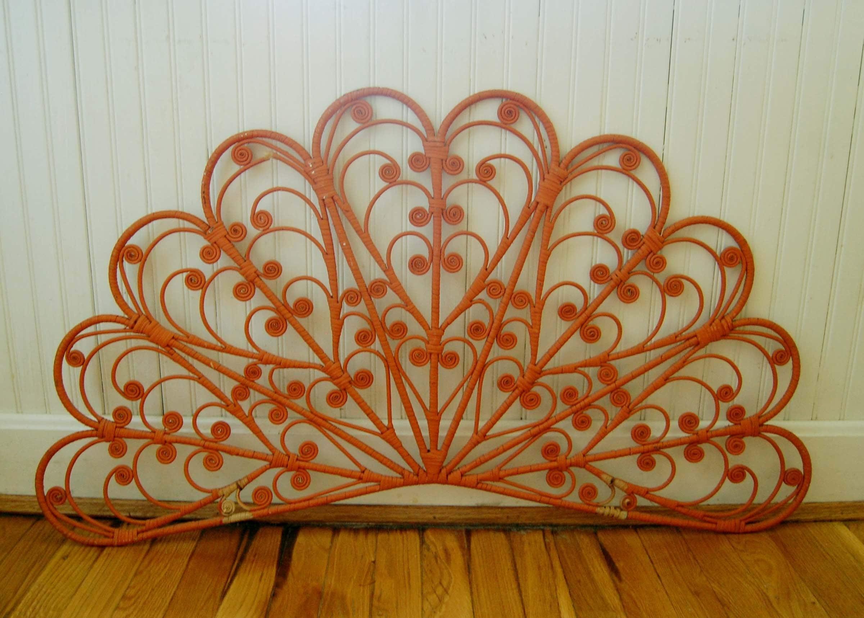Vintage Boho Orange Wicker Headboard Wall Hanging By