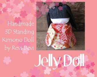 Japanese 3d standing washi doll... Flower Doll in red Kimono.. Pretty for cake topper or everyday gift fo her.. Handmade paper craft