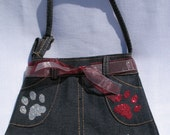 Little Girls Denim Skirt Purse, Paw Prints, Maroon and Silver , GRIZ COLORS