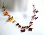 Color-Blocked Lace Necklace - Amber, Garnet and Jade