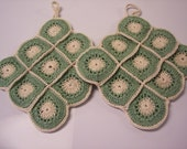 """FREE SHIPPING Beautiful Thick  Handmade Potholders - Set of 2  - Crocheted Cotton Thread     7"""" X 7"""""""