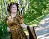 Evening Regency Jane Austen Ball Gown Dress in Brown SILK & Gold BROCADE includes sash, turban and shawl