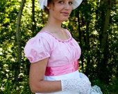 RESERVED Pink & White Regency Jane Austen Embroidered Organza and satin Ball dress CUSTOM