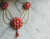 FAST S/H Coral Scarlett O'Hara Reproduction BBQ Necklace Choker Custom