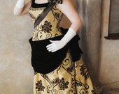 CUSTOM Victorian Bustle 1890s Steampunk Opera Evening Ball gown with train and flowers