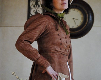 CUSTOM Regency Jane Austen dress Spencer Jacket Pelisse Militia P & P Redingote in Terra Cotta