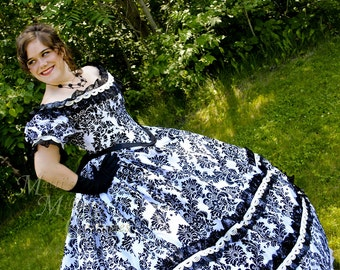 CUSTOM Victorian Bridal Civil War Steampunk Ball Gown Dress in Black & White flocked taffeta