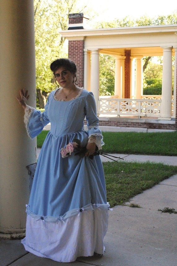 Colonial 18th Century Rococo Blue White Tea Ball Dress Gown SALE