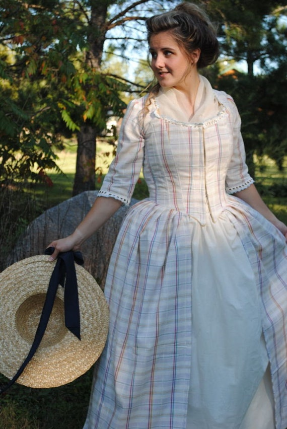 Colonial 18th Century Rococo White Plaid Dress Gown 1700s
