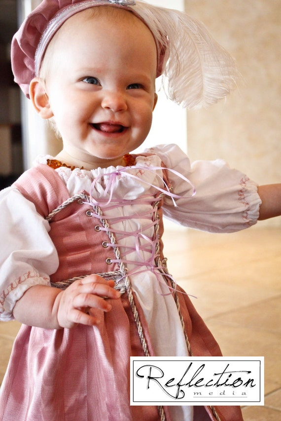 Childrens Renaissance Medieval Court Lil' Ren Outfit with chemise, overdress and muffin cap CUSTOM size and color