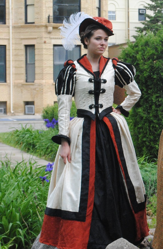 READY MADE Renaissance Tudor Elizabethan Court Bridal Ivory Black Silk Dress Outfit with Jacket, 2 skirts, hat SALE