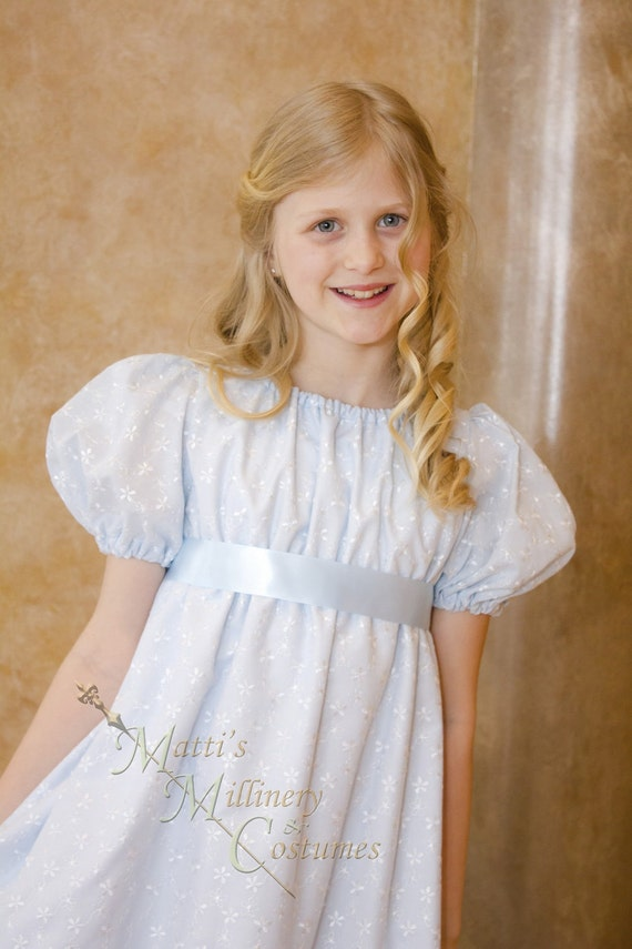 30% OFF Blue Regency Jane Austen Girl Childrens Ball Gown Dress READY-MADE in eyelet cotton with satin sash