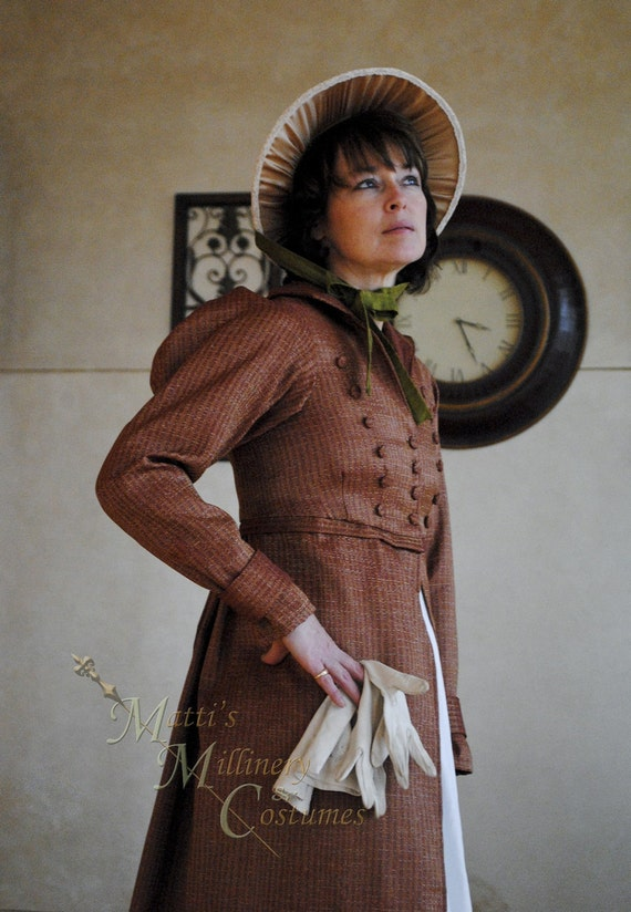 15% OFF Regency Jane Austen dress Spencer Jacket Pelisse Militia P & P Redingote in Terra Cotta