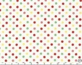 CLEARANCE, Japanese, Leicen Color Basics, Colored Dots on White, 4505-WZ, 1/2 yard