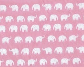 Japanese, Small Elephants on Pink, Fat Quarter