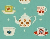 Melody Miller, Ruby Star Rising, Vintage Dishes in Aqua/Turquoise, 17 X 44 inches