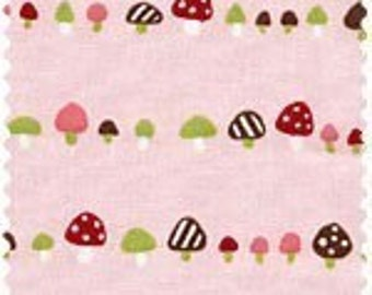 CLEARNACE, Japanese, Mushroom in a Row on Pink, 1/2 Yard