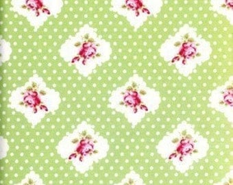 CLEARANCE, Tanya Whelan, Darla, Rosie Dots in Green, 1/2 yard