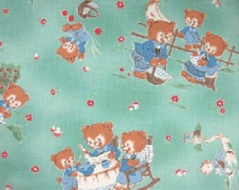 Last Piece, Japanese, Lecien, CHUM CHUM BEAR, Fairytale, 3 Little Bears in Turquoise, 1/2 Yard