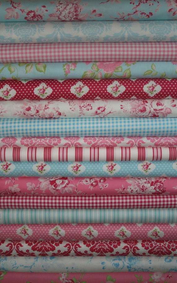 RESERVED FOR ASHLEY -Tanya Whelan, Darla, Red, Aqua and Pink, FQ Bundle of 17