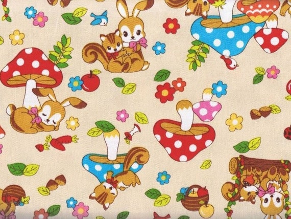 Woodland Friends, Rabbits and Squirrels on Beige, Japanese Fabric, FQ