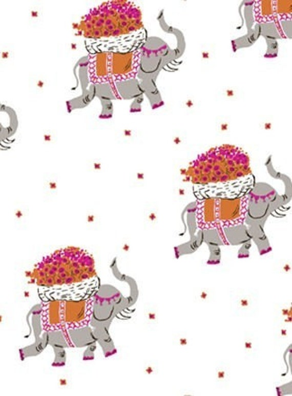 Munki Munki, Marching Elephants in Bamboo Flannel, 1 Sampler, approx. 8 X 10 inches