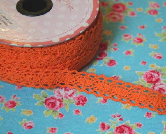 Riley Blake, Crocheted Lace in Orange, 1 yard