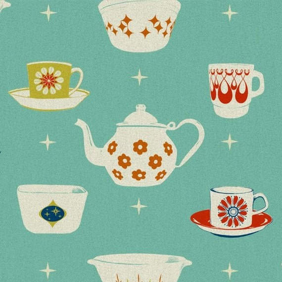 RESERVED for Kristin, Melody Miller, Ruby Star Rising, Vintage Dishes in Aqua/Turquoise, 3 yards